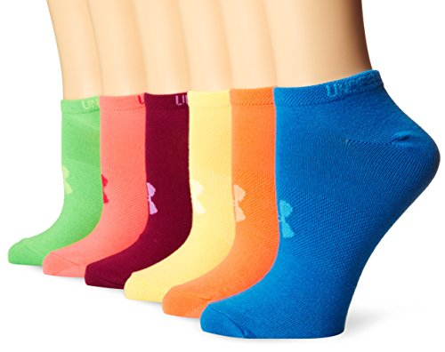 Under Armour Mädchen Running Laufsocken Solid 6PKS Noshow, Assorted, L, 1264054-968 (Under Kinder Socken Armour)
