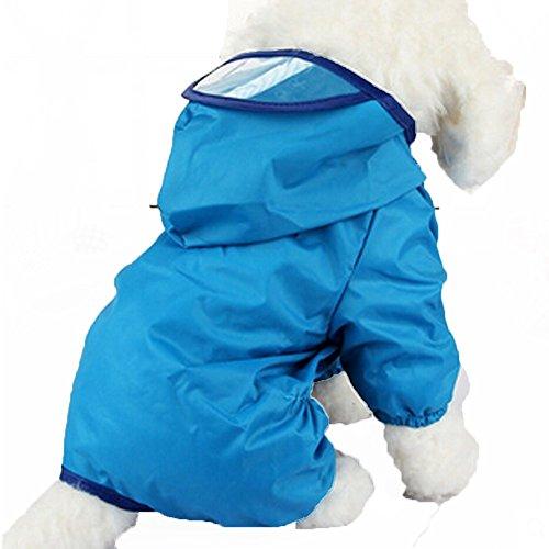 GenialES imperméable pluie pour animaux moyennes et grandes avec capuche Imperméable pour pluie avec extra longues aile pour chat chien 20: Pecho 54cm bleu