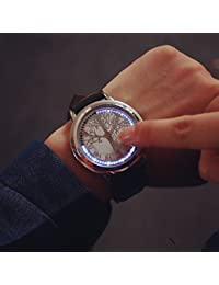 Relojes Hermosos, Dial grande llevó pantalla táctil pareja relojes hombres de la marca de lujo de relojes visten relojes de cuarzo estudiantes vendimia ( Color : Plateado , Talla : Una Talla )