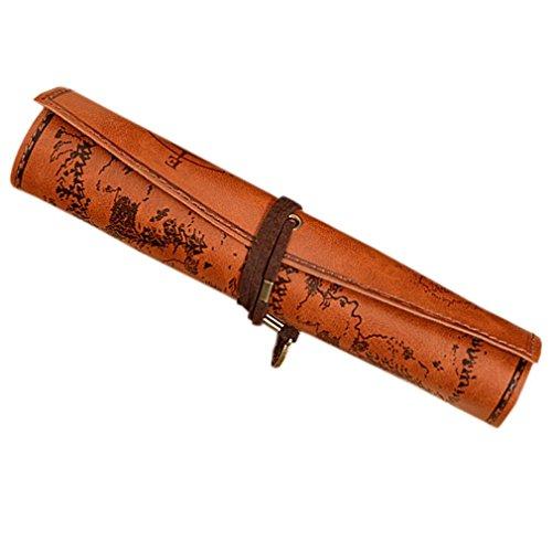 """Qees Vintage Bleistift, Tasche, Piraten-Schatzkartenmuster, PU Rolle, Leder-Mäppchen, Bleistifte, Rolle, Make-up-, Kosmetik-Aufbewahrung, für Büro, Uni, BD04 8.1""""*12.2"""" hellbraun"""