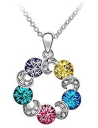 Collar Technicolor - Meilanty Mujeres mancha de color colorido 5 Kristal con 45cm de cadena