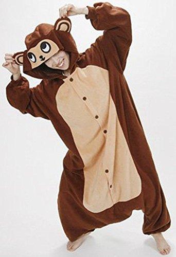 Imagen de abyed kigurumi pijamas unisexo adulto traje disfraz adulto animal pyjamas,brown del mono adulto talla l para altura 167 175cm alternativa
