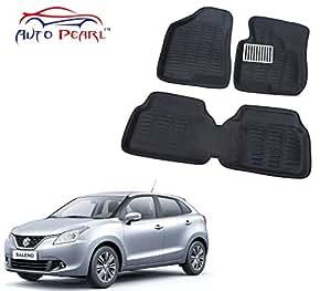 Auto Pearl 3D Car Foot Mat for Maruti Suzuki Baleno (Set of 3, Black)