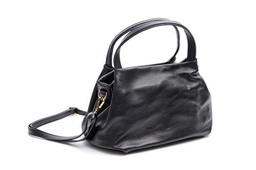 Pretty Nana Donna Made In Italy Borsa a spalla Tracolla/ Shopping Bag in Pelle color Nero Greta 008 Nero