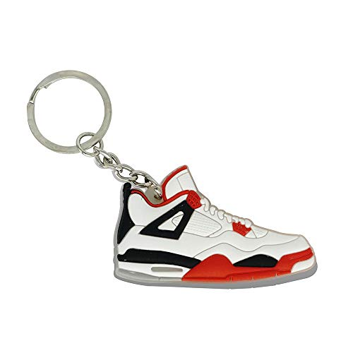 Fly Fashion Sneaker (ProProCo Sneaker Schlüsselanhänger Air Jordn 4 IV Schuh Schlüsselanhänger Schwarz Gelb Schuh Fashion für Sneakerheads,hypebeasts und alle Keyholder Nik (Weiß Rot))