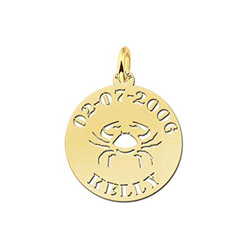 Nome Forever Collana Veneziana con ciondolo tondo in oro Cancro Segni Zodiacali e nome e DATA di incisione sulla parte anteriore, Oro giallo, colore: gold, cod.