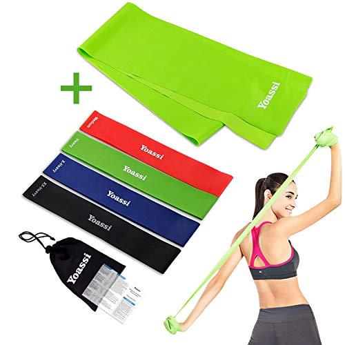 Yoassi 150 × 15 cm Fitnessband mit Set 4-Stärken Widerstandsbänder-Stretchband Fitness Gymnastik Gummibänder für Muskelübungen/Sport/Yoga/Dehnen