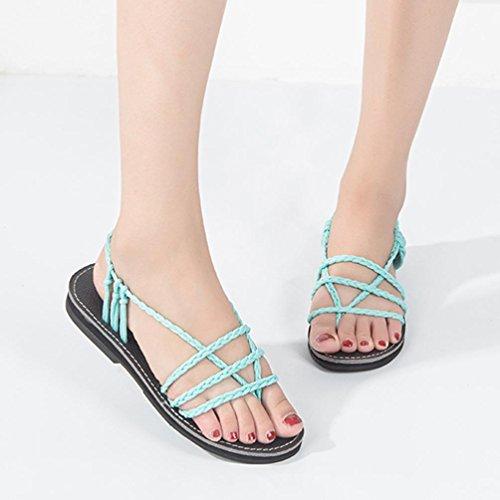 3cd864ef44d OHQ Sandales❤ ❤️Femme BohèMe D éTé Femmes Chaussures Peep-Toe Plates Cuir  Tropeziennes Strass Blanche Marron Grande Taille Montante Basses Romaines  ...