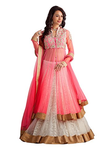 Clickedia Women\'s Net Lehenga (Pink Panther Lehenga Suit_Free Size_Pink & White)