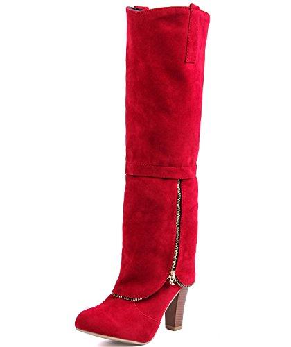 JOYORUN Damen Langschaft Stiefel Kniehohe Reißverschluss High Heels Runde Schuhe Rot