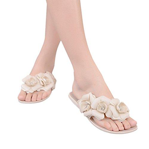 Vertvie Mädchen Damen Süße Sommer Hausschuhe Badeschuhe Komfort Kamelie Blumen mit Strass flache Sandalen Flip-Flops Pantoffeln Zehntrenner Strandschuhe Beige