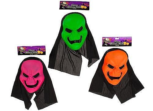 NEON FARBIGE Horror Maske mit Mesh-Ösen und schwarz Kapuze Halloween-Kostüm
