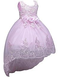 LINNUO Niñas Vestidos Sin Mangas Bordado con Lentejuelas Flores de Princesa Ceremonia Fiesta Boda (Pink