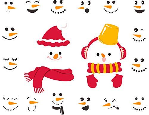 emann-Aufkleber, Weihnachts-Wandaufkleber, Schneemann-Gesichter, Schneemann-Aufkleber, Winter-Dekoration, Weihnachtsdekoration ()
