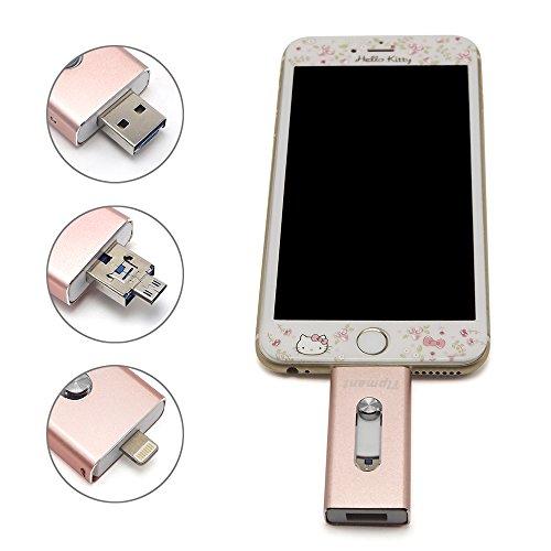 Tipmant High Capacity-Mobiltelefon -USB-Flash-Laufwerk 32 GB i-Flash-U-Disk-Memory Stick Pendrive für Computer, iPhone & iPad-Serie und Android Smart-Phone Series - Pink