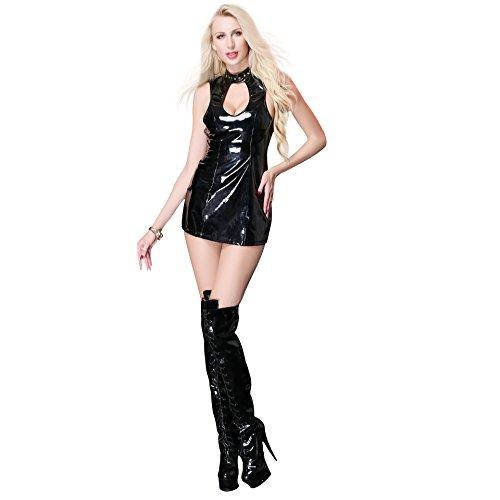 ZWGYQ Europäisch Und Amerikanisch Sexy Lackleder Halfter Openwork Kleid Kostüm,S