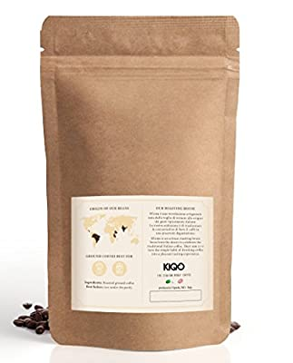 KIQO Classico Espresso from Italy | Gently Roasted in Small batches | Low in Acid and digestible | 35% Arabica & 65% Robusta Beans