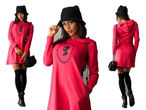 Highdas Inverno Autunno Dress donne dell'annata eleganti vestiti sexy Pockets manica lunga Red/6859