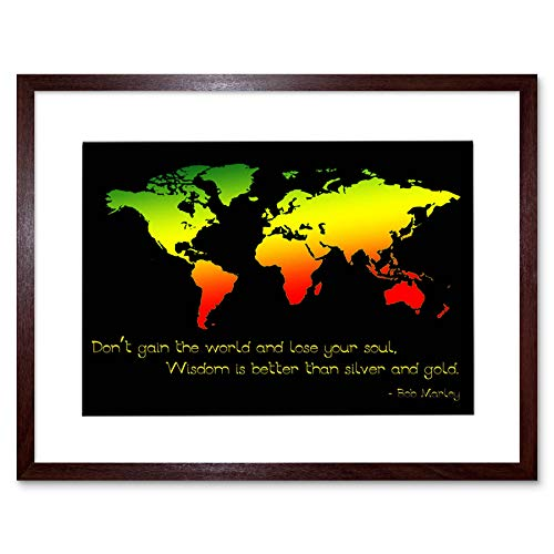 GAIN World LOSE Your Soul BOB Marley Quote Frame Art Print Picture F12X363 Gain Frame