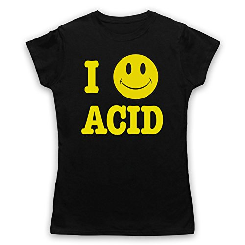 I Love Acid House Smiley Face Damen T-Shirt Schwarz