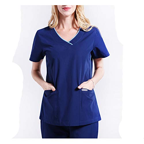 CX ECO Medizinische Uniformen Damen-Peelingsets Krankenhaus Medizinische Arbeitskleidung Krankenpflegeuniform V-Ausschnitt Oberteile + Hosen Mit 2 Taschen,S (Uniform-oberteile Krankenschwestern)