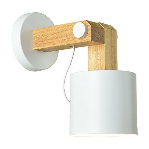 M-zmds parete luci nordic postmoderno metallo solido legno comodino lampada da parete moderna semplice multi-colore soggiorno tv parete applique per camera da letto loft navata studio lampada ( colore : bianca )