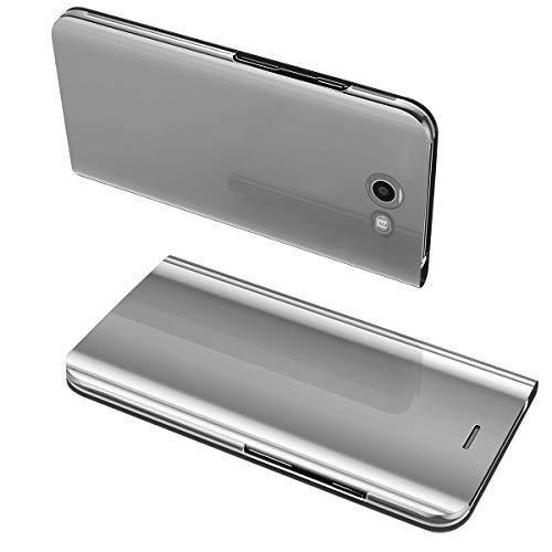 Samsung galaxy s6 edge plus clear view specchio standing cover galaxy s6 edge plus mirror flip custodia bookstyle wallet portafoglio lusso elegante flip ultra slim case per galaxy s6 edge plus (argento)