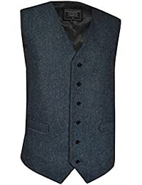 Lloyd Attree & Smith Men's Classic Wool Handle Waistcoat, Blue Fleck Tweed