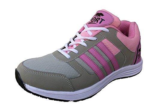 Port Women's Domain Gray Maroon Mesh Sports Shoes