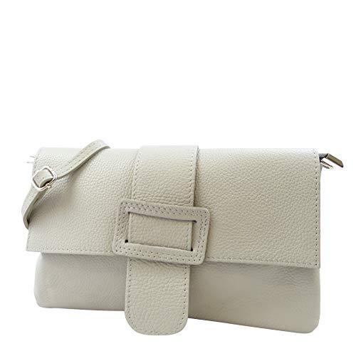 SH Leder Echtleder Umhängetasche Clutch kleine Tasche Abendtasche 28x17cm Elisa G1919 (Beige) -
