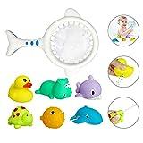Aokebeey 7 Stück Badespielzeug für Baby, Badewannenspielzeug mit Fischernetz Schwimmenden Tieren, Badewanne Babyspielzeug Ozean Sprühwasser kinderspielzeug für 1 2 3-Jahre Mädchen Jungen Kleinkinder