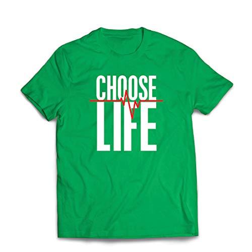 lepni.me Männer T-Shirt Wählen Sie das Leben Herzschlag, Anti-Abtreibung politischen Protest, Christian Zitat (XX-Large Grün Mehrfarben)