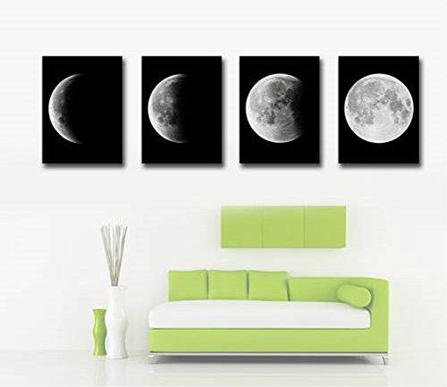 obella ungerahmt Art Wand Leinwand Bilder Drucke || 4-teilig, rückgangs Moon Full Moon || Poster Öl Gemälde Gedruckt Foto für Home Dekoration Elefant Karte Poster