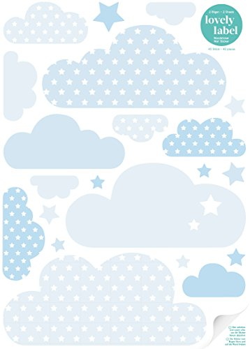 lovely label Wandsticker selbstklebend WOLKEN BLAU- Wandaufkleber Kinderzimmer / Babyzimmer mit Wolken und Sternen in versch. Farben - Wandtattoo Schlafzimmer Mädchen & Junge, Wanddeko Baby / Kinder