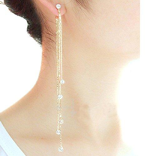 TININNA Damen Frauen Kristall Strass Troddel Lange Ohrring Ohrhänger Ohrhaken Ohrgehänge Ohrschmuck Golden EINWEG Verpackung