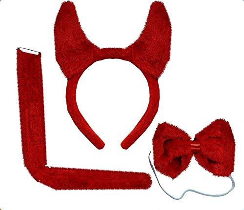 (Devil Set) Hellrot, plüsch Teufel Kostüm mit