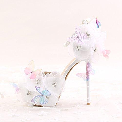 spitzes und Braut Sandelholze Schmetterlingsfliegen der Frauen amp; Spitzeblumenrhinestones high Si wei脽e Zehe Brautjungfer Hochzeitsschuhe 12CM heeled zWXqvxWYwU