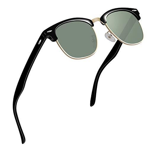 VVA Sonnenbrille Herren klassischer Retro-Halbrahmen Polarisiert Sonnenbrillen für Herren Damen V1002(Schwarz Grün)