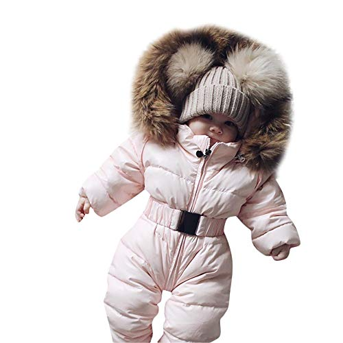 Rosennie Winter Säuglingsbaby Mädchen Spielanzug Jacken mit Kapuze Kleinkind Kinder Mantel Overall Warme Ausstattung Jacket Hooded Jumpsuit Thick Coat Outfit Baby Romper Winterjacke(Rosa,65)