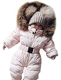Rosennie Winter Säuglingsbaby Mädchen Spielanzug Jacken mit Kapuze Kleinkind Kinder Mantel Overall Warme Ausstattung Jacket Hooded Jumpsuit Thick Coat Outfit Baby Romper Winterjacke