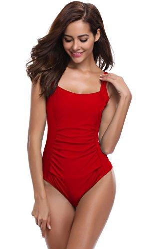 SHEKINI Damen Rüschen Einteilige Badeanzügen Rückenfrei Badeanzug Faltig Bademode (Large,B-Rot-Keine Einstellgurte)