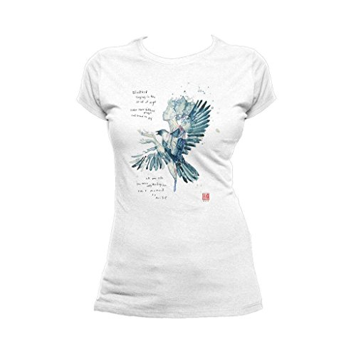 Beatles David Mack Blackbird Official Women's T-Shirt (White) (X-Large) -