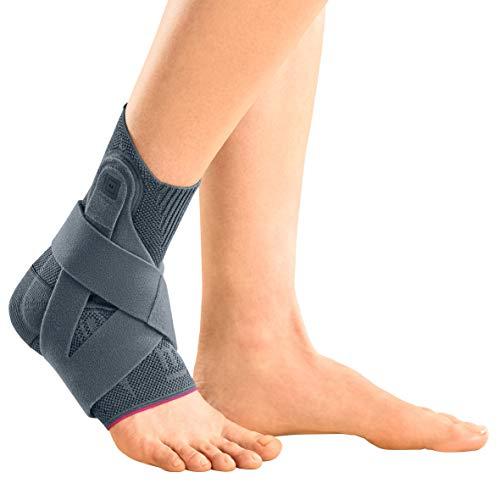 medi Levamed active - Sprunggelenkbandage rechts | silber | Größe V | Fußbandage mit stabilisierendem Gurtsystem