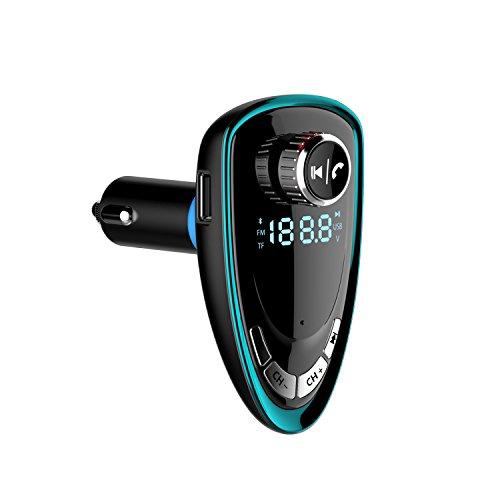 Bluetooth FM-Transmitter Radio Adapter Freisprecheinrichtung mit TF-/SD-Karten-Slot / MP3-Player / AUX Ein- & Ausgang / mit USB-Ladegerät für iPhone Samsung HTC etc. LCD-Anzeige (Grün)