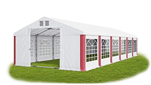 Das Company Partyzelt 6x12m wasserdicht weiß-rot mit Bodenrahmen und Dachverstärkung 560g/m² PVC Plane Robust Festzelt Gartenzelt Summer Plus SD