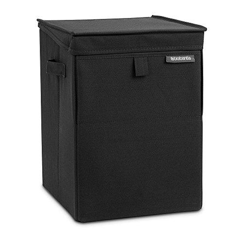 Brabantia bag stackable laundry box 35l-impilabile con doppia apertura, poliestere/plastica, black, 35 kitri