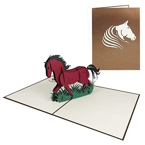 3D Pop Up Karte Pferd Geburtstagskarte Gutschein für Glückwunsch Geburtstag Einladung Freizeit Reiten Zoo Tiere - Pferd