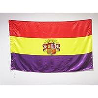 BANDERA ESPAÑA REPUBLICANA CON ESCUDO 150x90cm en RASO para palo - BANDERA DE LA REPUBLICA ESPAÑOLA 90 x 150 cm - AZ FLAG
