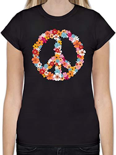 Statement Shirts - Peace Flower Power - M - Schwarz - L191 - Tailliertes Tshirt für Damen und Frauen T-Shirt