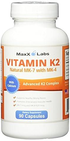 BEST Vitamin K2 ★ 600 mcg ★ 90 Vegie Caps ★ Advanced Formulation of All Natural MK7 (Natto) and MK4 Menatetrenone) Plus Calcium 100 mg - Vitamin K - MK-7 + MK-4 with No GMOs, Gluten and Allergens Free